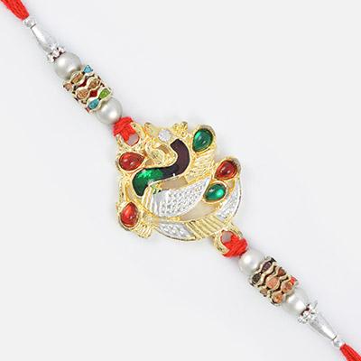 Peacock Designer Colorful Rakhi with Diamond Beads Work