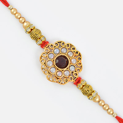 Decorative Mani Diamond Rich Centered Designer Rakhi