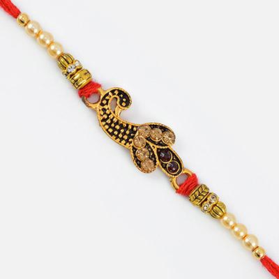 Kundan Work Peacock Design Rakhi with Different Beads
