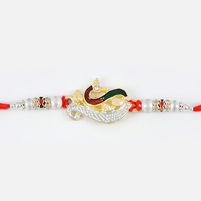 Amazing Multi-colored Peacock Rakhi with White Pearl and Silver Beads