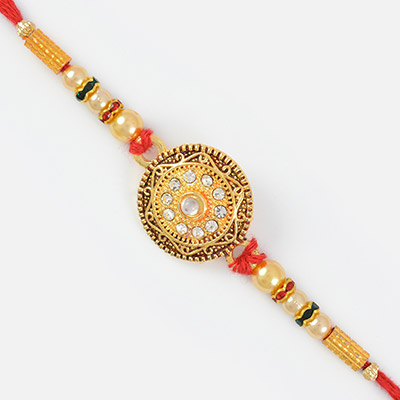 Circular shape Studded diamond Meena Work Rakhi