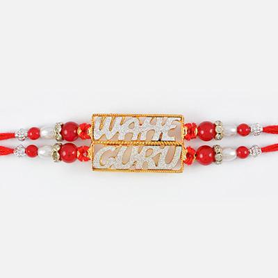 Red and White Colored WAHE GURU Sikh Rakhi