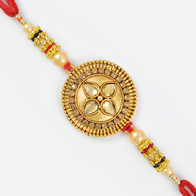 Zestful Golden Coin with Studded Stones Rakhi for Brother