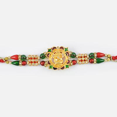 Meena Work Ganesh Golden Rakhi