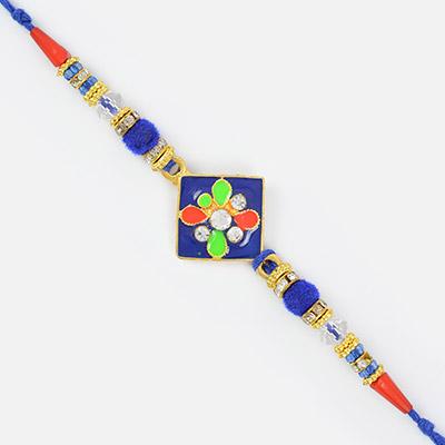 Colorful Meena Work Traditional Matellic Designer Rakhi