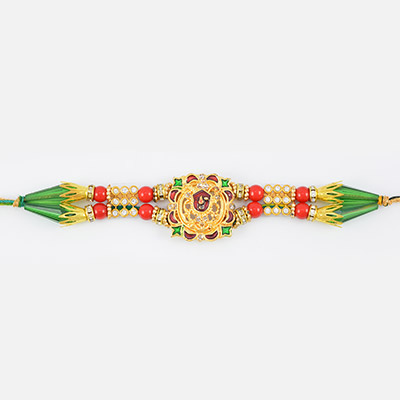 Holy Aura of Shyam Ji- Golden Diamond Desiger Rakhi