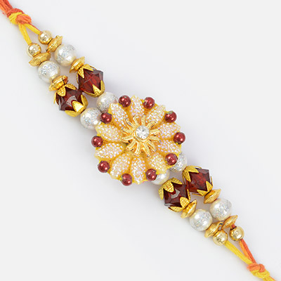 Golden Pearl and Color Beaded Orbit Center Bead Rakhi