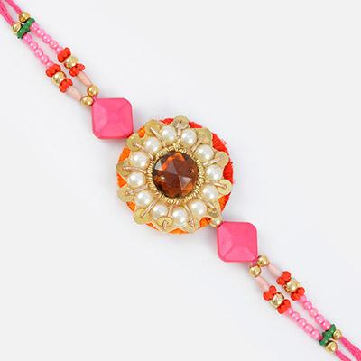 Flounce work of pearl ruby multi-design beads- refreshing color of pink designer Rakhi