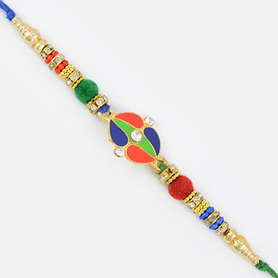Diamond Meena work colorful Poly Beads Designer Rakhi