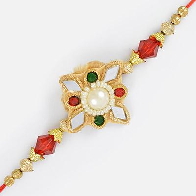Elegant work of Glass zardosi and golden beads with Pearl in center Rakhi