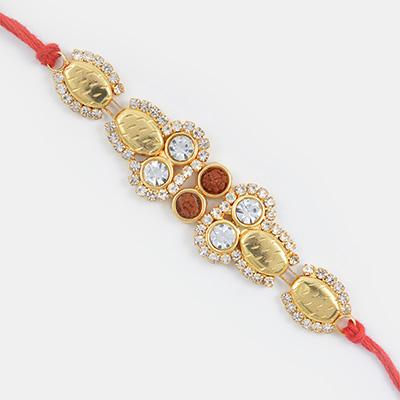 Majestic Diamond Golden Designer Rakhi