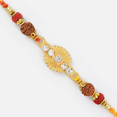 Stylish Golden Diamond Work Rudraksh Special Mauli Rakhi