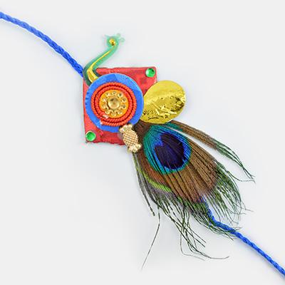 Peacock Feather- Traditional Designer Rakhi