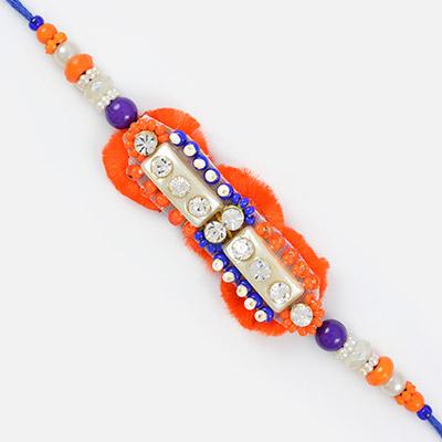 Eye catching work of centered diamonds and orange blue beads diamond Rakhi
