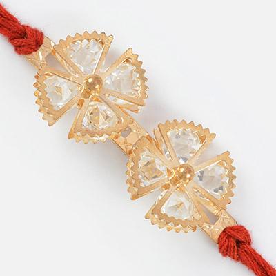 Twin Floral Jewel Designer Rakhi