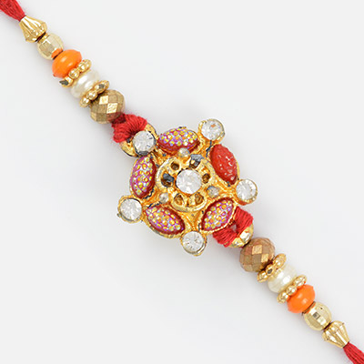 Designer and Colorful Golden Diamond and Beaded Rakhi