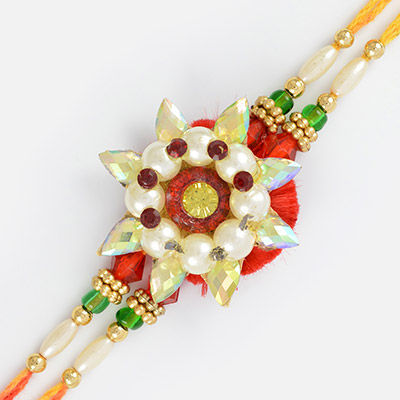 Royal design of pearl ruby with crystal marquise and colorful beads Rakhi