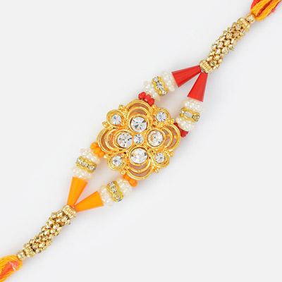 Magnificent Golden and Diamond Base Colorfull Rakhi