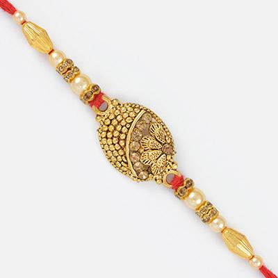 Meena Work Design Golden Rakhi