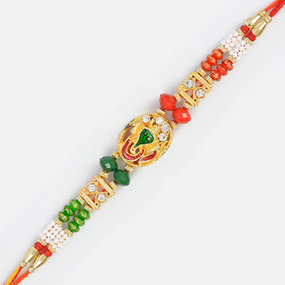 Red and Green Golden Ganesha Rakhi with Different Beads