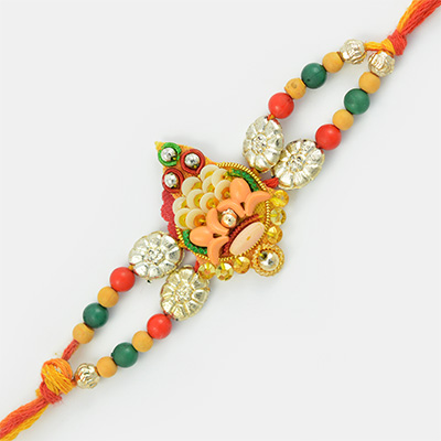 Aristocratic and Colorful Beads Fancy Mauli Rakhi for Brother