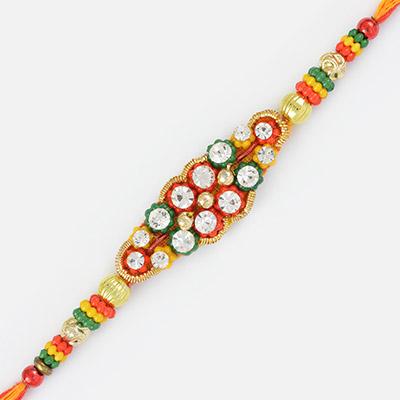 Fancy Zardosi Diamond Work Rakhi with Colorful Beads