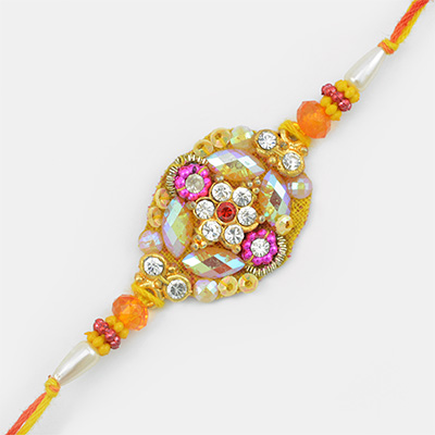 Shining Glass and Zardosi Work Mauli and Diamond Embossed Fancy Rakhi