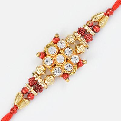 Golden Beads Rakhi with Diamonds- Fancy Bracelet for Brother