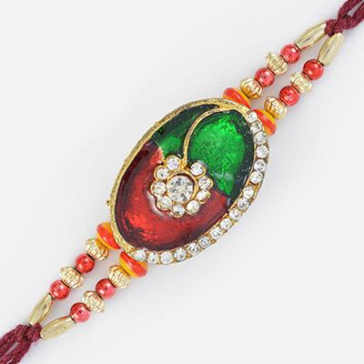 Splendid Multi Designer Beads and Oval Shaped Diamond Fancy Rakhi
