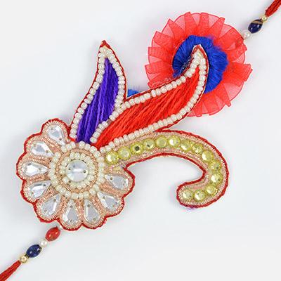 Heritage Art of Kundan Zardosi Pearl with Diamonds- Designer Peacock Fancy Rakhi