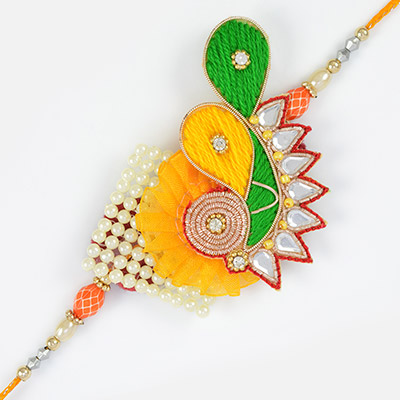 Flurry design of crystal and pearl with colorful thread work in fancy Rakhi