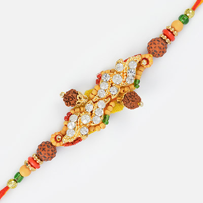 Designer Diamond Mauli Rakhi with Rudraksh and Sandalwood Beads