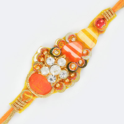 Awesome Looking Fancy Rakhi with Colorful Stone and Diamond Work