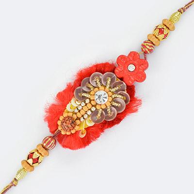 Noble Spangles Zardosi and Fancy Beads Mauli Rakhi in Satin Base