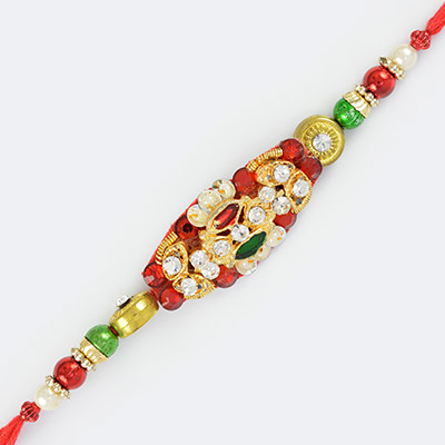 Exclusive Golden Diamond Pearls and Colorful Beads Fancy Rakhi