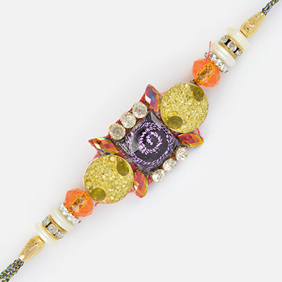 Sparkling Arena of Golden and Glass Beads Fancy Rakhi