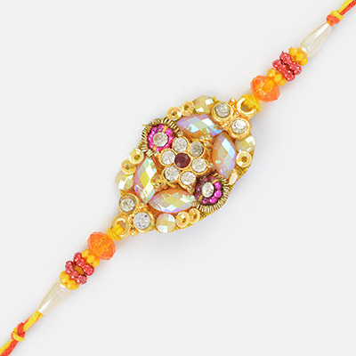 Shining Glass and Zardosi Work Mauli Fancy Rakhi
