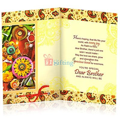 Traditionally Designed Rakhi Greeting Card for Brother