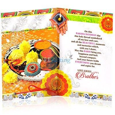 Floral Designer Warm Wishesh Rakhi Greeting Card
