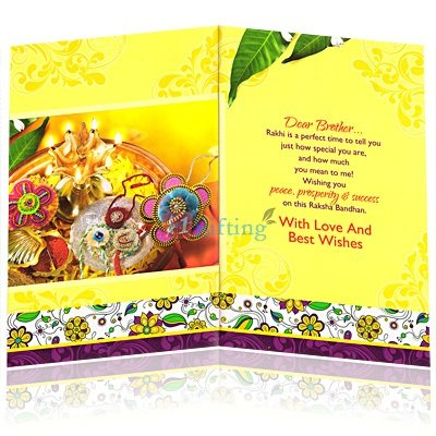 Peace Prosperity and Success Rakhi Greeting Card for Brother