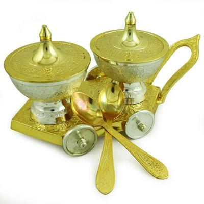 Royal Ice Cream Bowl Pair with Designer Trolley Golden Silver Plated