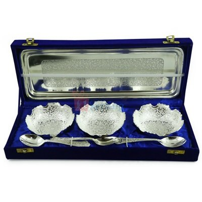 Bowl Gift Set of 3 with Spoon and Tray Silver Plated