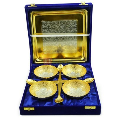 Brass Golden Silver Capsule Bowl Set of 4 with Tray and Spoons