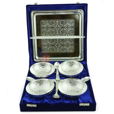 Bowl Set of 4 Silver Plated with Spoons and Tray