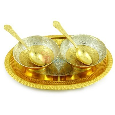 Bowl Pair Golden Silver Plated with Designer Oval Tray