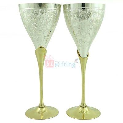 Brass Goblet Pair in Golden Silver