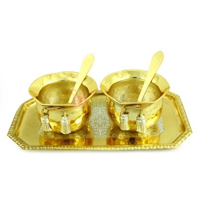 Shahi Bowl Pair with Tray in Golden Silver Plated Royal Gift