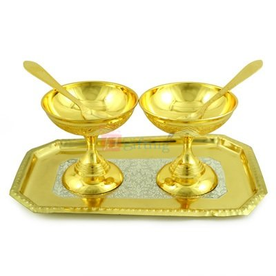 Ice Cream Bowl Pair with Tray in Golden Silver Plated