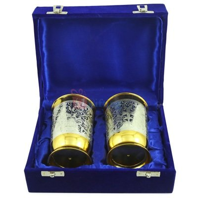 Brass Glasses Pair in Golden Silver for Royal Gift