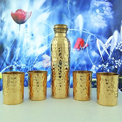 Hammered Copper Water Bottle with Four Glass Set